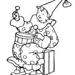 April fools, Clown Holding Drum On April Fools Day Coloring Page: Clown Holding Drum on April Fools Day Coloring Page