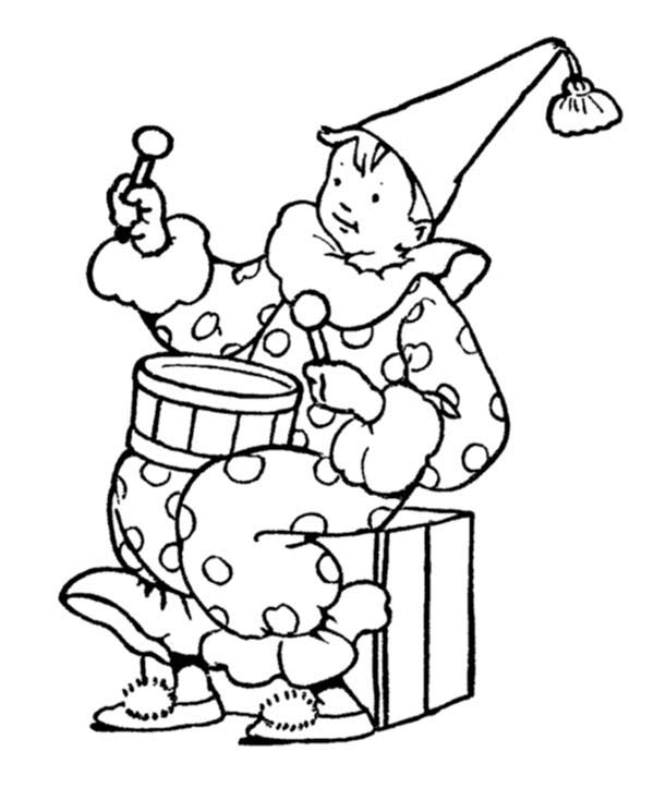 April fools, : Clown Holding Drum on April Fools Day Coloring Page