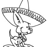 Dogs, Cute Little Dog Wearing Mexican Hat Coloring Page: Cute Little Dog Wearing Mexican Hat Coloring Page