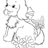 Dogs, Cute Puppy Dog Playing With Butterfly Coloring Page: Cute Puppy Dog Playing with Butterfly Coloring Page