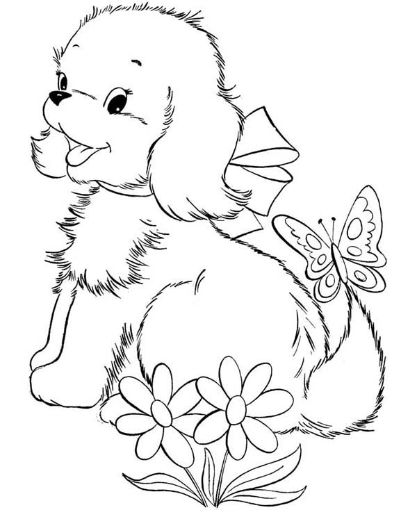 Dogs, : Cute Puppy Dog Playing with Butterfly Coloring Page