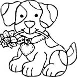 Dogs, Dog Bite A Flower Coloring Page: Dog Bite a Flower Coloring Page