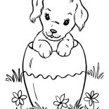 Dogs, Dog Hiding In Big Vase Coloring Page: Dog Hiding in Big Vase Coloring Page