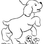 Dogs, Dog Playing In The Garden Coloring Page: Dog Playing in the Garden Coloring Page
