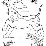 Dogs, Dog Running Wild With A Bee Coloring Page: Dog Running Wild with a Bee Coloring Page