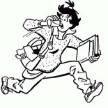 Archie, Ethel Muggs Is Getting Late For School In Archie Comics Coloring Page: Ethel Muggs is Getting Late for School in Archie Comics Coloring Page