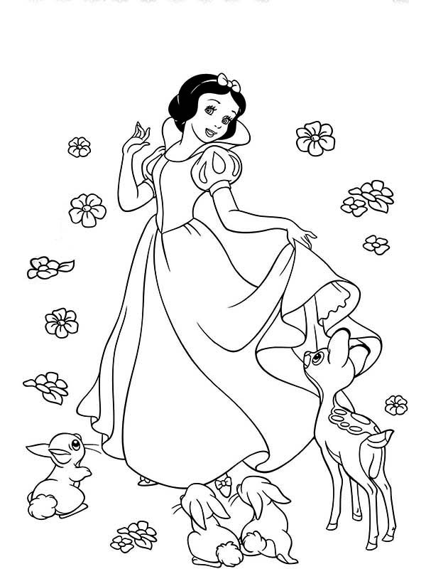 Snow White, : How to Draw Snow White and Her Friends Coloring Page