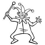 April fools, Joker And His Stick In April Fools Day Coloring Page: Joker and His Stick in April Fools Day Coloring Page