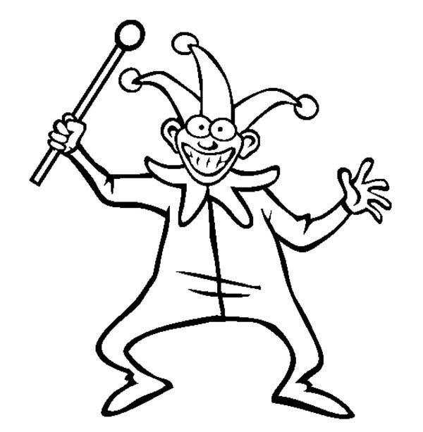 April fools, : Joker and His Stick in April Fools Day Coloring Page