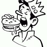 Archie, Jughead Eating Hamburger In Archie Comics Coloring Page: Jughead Eating Hamburger in Archie Comics Coloring Page