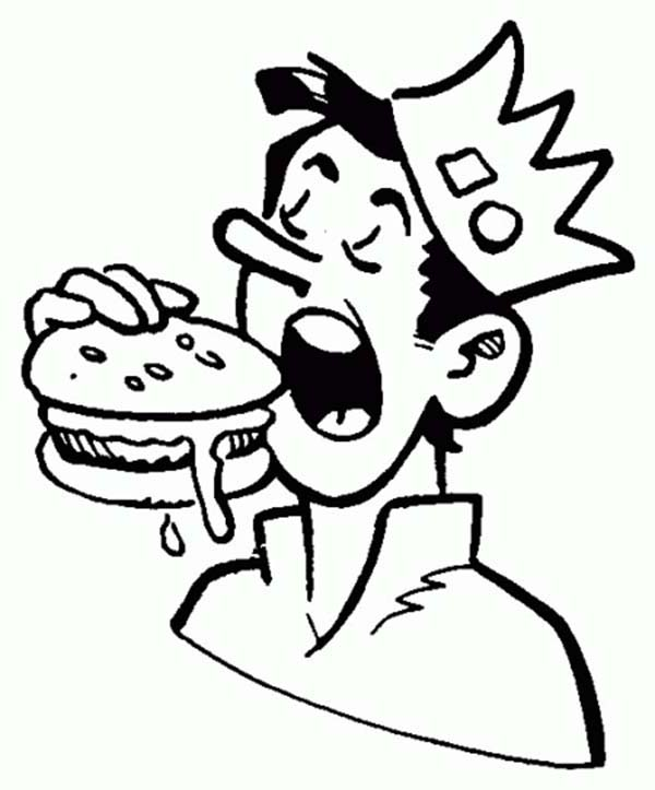 Archie, : Jughead Eating Hamburger in Archie Comics Coloring Page