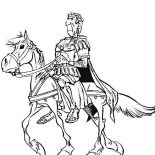 Asterix, Julius Caesar Riding Horse In The Adventure Of Asterix Coloring Page: Julius Caesar Riding Horse in the Adventure of Asterix Coloring Page