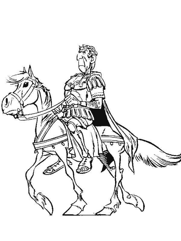 Asterix, : Julius Caesar Riding Horse in the Adventure of Asterix Coloring Page