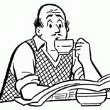 Archie, Mr Fred Andrews Drinking Coffee In Archie Comics Coloring Page: Mr Fred Andrews Drinking Coffee in Archie Comics Coloring Page