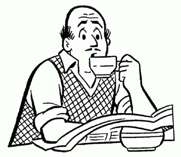 Archie, : Mr Fred Andrews Drinking Coffee in Archie Comics Coloring Page