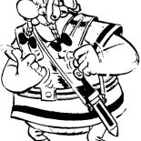 Asterix, Obelix Wear Romans Soldier Uniform In The Adventure Of Asterix Coloring Page: Obelix Wear Romans Soldier Uniform in the Adventure of Asterix Coloring Page