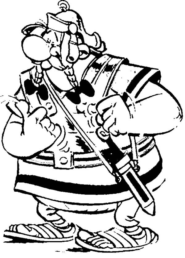 Asterix, : Obelix Wear Romans Soldier Uniform in the Adventure of Asterix Coloring Page