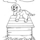 Dogs, Puppy Dog Climb Up A Dog House Coloring Page: Puppy Dog Climb Up a Dog House Coloring Page
