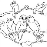Birds, School Of Bird Singing Together Coloring Page: School of Bird Singing Together Coloring Page