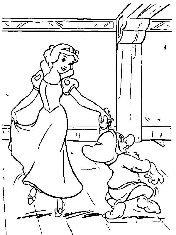 Snow White, : Snow White Dance with Dwarf Coloring Page