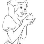 Snow White, Snow White Eat Poisonous Apple Coloring Page: Snow White Eat Poisonous Apple Coloring Page