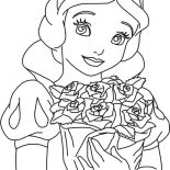 Snow White, Snow White Holding Bouquet Of Rose Coloring Page: Snow White Holding Bouquet of Rose Coloring Page