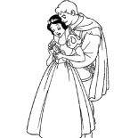 Snow White, Snow White Hugged By Prince Coloring Page: Snow White Hugged by Prince Coloring Page
