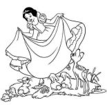 Snow White, Snow White Love Her Dress Coloring Page: Snow White Love Her Dress Coloring Page