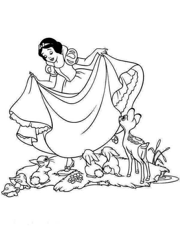 Snow White, : Snow White Love Her Dress Coloring Page