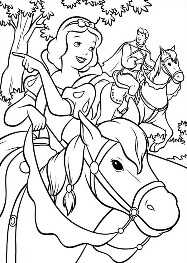 Snow White, : Snow White Riding Horse with Prince Coloring Page