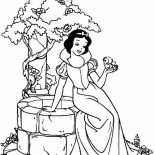 Snow White, Snow White Sitting On The Side Of Well Coloring Page: Snow White Sitting on the Side of Well Coloring Page