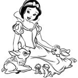 Snow White, Snow White Talking To Her Jungle Friends Coloring Page: Snow White Talking to Her Jungle Friends Coloring Page