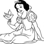 Snow White, Snow White Talking To A Bird Coloring Page: Snow White Talking to a Bird Coloring Page
