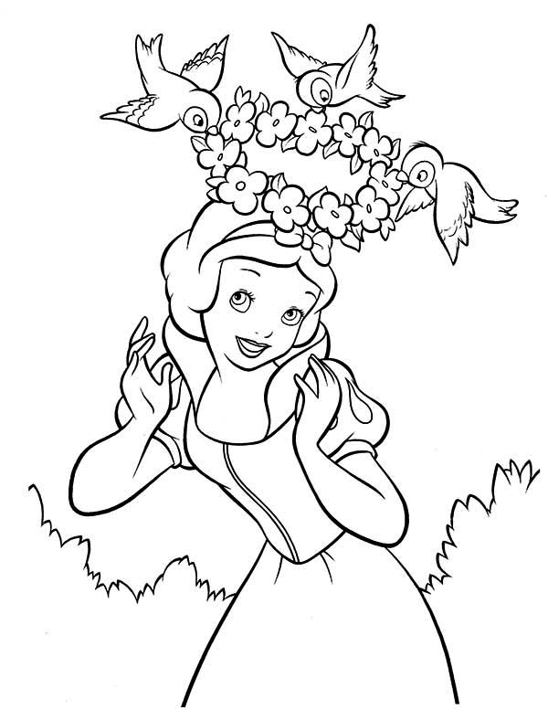 Snow White, : Snow White and Her Floral Crown Coloring Page