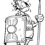Asterix, Terrified Roman Soldier In The Adventure Of Asterix Coloring Page: Terrified Roman Soldier in the Adventure of Asterix Coloring Page