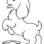 Dogs, The Dog Is Happy For Lunch Time Coloring Page: The Dog is Happy for Lunch Time Coloring Page