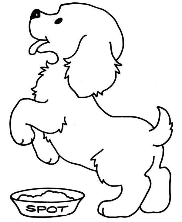 Dogs, : The Dog is Happy for Lunch Time Coloring Page
