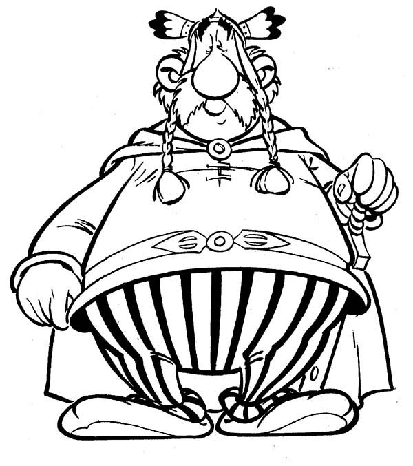 Asterix, : The Leader of Gaulish Village Vitalstatistix in the Adventure of Asterix Coloring Page