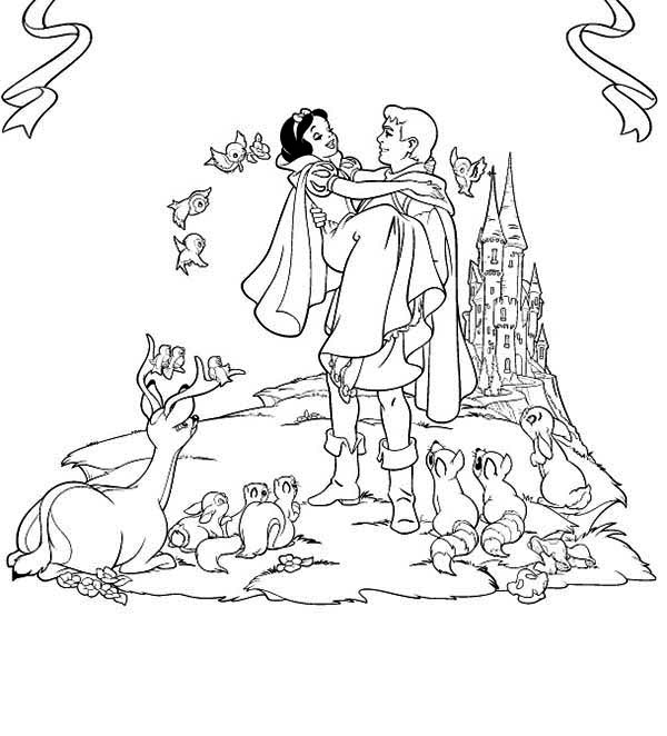 Snow White, : The Prince Want to Take Snow White to His Castle Coloring Page