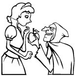 Snow White, The Witch Give Snow An Apple White Coloring Page: The Witch Give Snow an Apple White Coloring Page