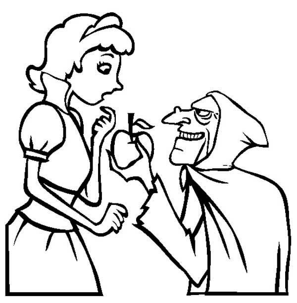 Snow White, : The Witch Give Snow an Apple White Coloring Page