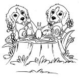 Dogs, Twin Dog Playing With Snails Coloring Page: Twin Dog Playing with Snails Coloring Page