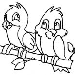 Birds, Two Bird Having Conversation Coloring Page: Two Bird Having Conversation Coloring Page