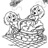 Dogs, Two Cute Dog And Butterflies With A Basket Of Bone Biscuits Coloring Page: Two Cute Dog and Butterflies with a Basket of Bone Biscuits Coloring Page