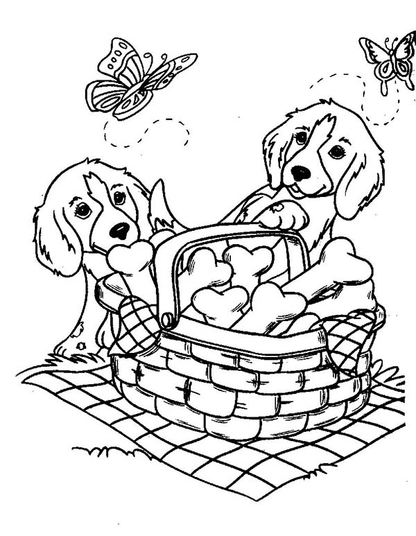 Dogs, : Two Cute Dog and Butterflies with a Basket of Bone Biscuits Coloring Page