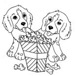 Dogs, Two Little Dog Eating Popcorn Coloring Page: Two Little Dog Eating Popcorn Coloring Page