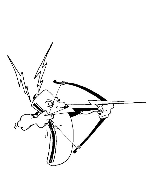 Lightning Bolt, : A Battery Shoot a Lighting Bolt Arrow Coloring Page
