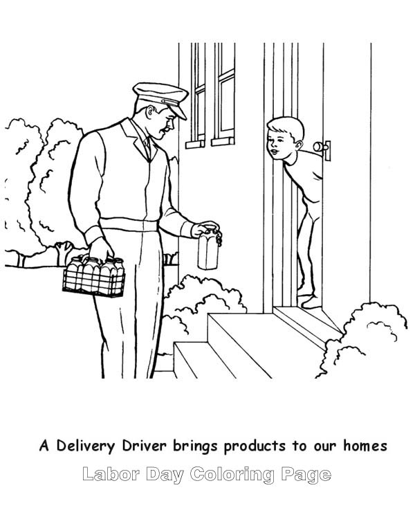 a delivery milk man in labor day coloring page