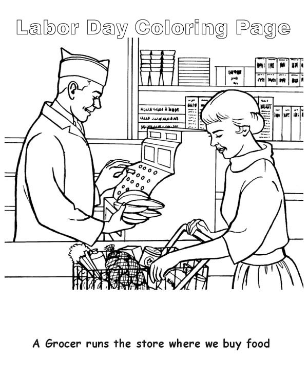 Labor Day, : A Grocer Runs the Store in Labor Day Coloring Page