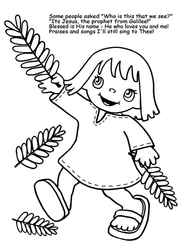 Palm Sunday, : A Little Girl Wave Palm Tree Branches in Palm Sunday Coloring Page